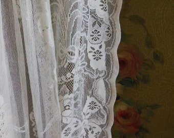 Vintage Ivory All Cotton Lace Curtain Panel
