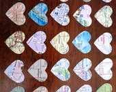 50 Upcycled Heart Shaped Map Stickers