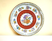 Vintage Tin Tray, Daher England,Round Floral Serving Tray, Cottage Decor, ON SALE