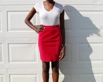 SALE!!!!!!!! Crimson red-pink high waist suede pencil skirt 1990s 90s VINTAGE
