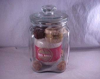 SALE Covered Glass Canister Jar
