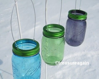 Hanging Mason Jar Green Lids DIY Garden Lights, Hanging Outdoor Lighting or Flower Vase, No Jars