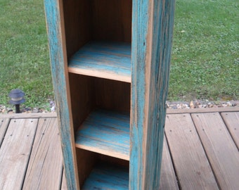 Small Teal BarnWood Cabinet