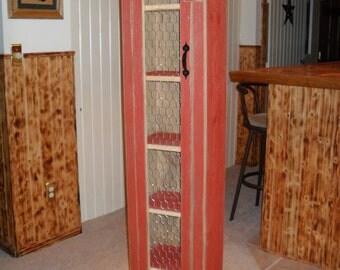 Rustic Red Chicken Wire Door Cabinet