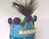 60th Birthday party crown, 60th birthday party hat, 60th party hat, peacock birthday party hat,  60 & SASSY or customize