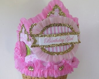 Birthday Party Hat, Birthday Party Crown, Pink Birthday Hat, Birthday Girl Hat, Customize