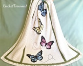 Dance of the Butterflies Throw / new / handmade / blanket / throw / butterfly / home decor / decorative / unique / cross-stitch / swirls
