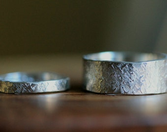 His & Hers Couple Ring Set- Personalized Star/Raw Silk Textured Silver Band Set- Rustic, Modern Engagement Rings, Wedding Bands by Pale Fish