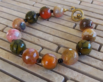 "Olive, Orange & Black 6 1/2"" Gemstone Bracelet, small wrist, peach, spider agate, Crackled Agate, earth tones bracelet, Autumn, Fall colors"