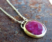 Ruby Necklace , Gold Necklace , Gold Ruby Necklace - Bezel Ruby Necklace - one of a kind