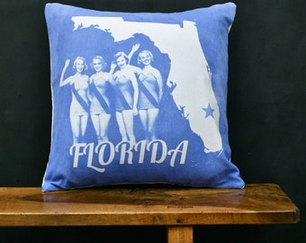 Florida Accent Pillow - Decorative Cotton Denim State Pillow - Florida Home Accessory