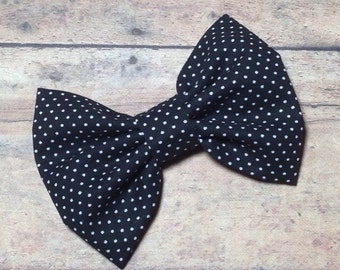 Black and White Polka Dot Fabric Bow 3.5 Inches