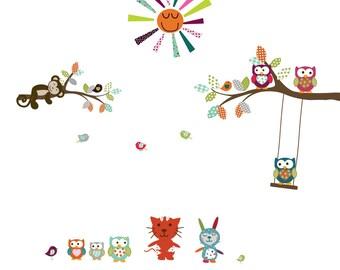Vinyl Wall Sticker Decal Owls Birds Butterflies Branch Set with monkeys