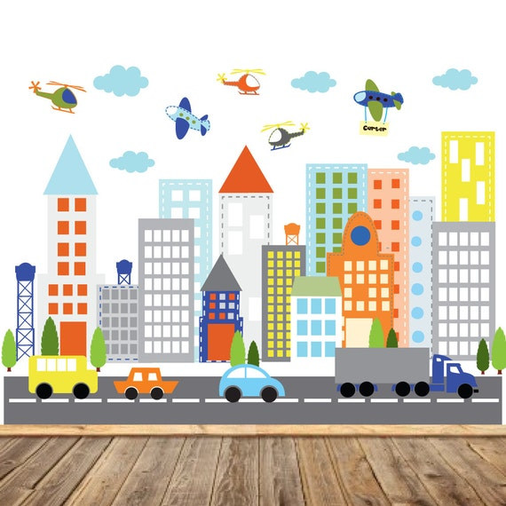Kids Vinyl Wall Sticker Decal Art city buildings with cars