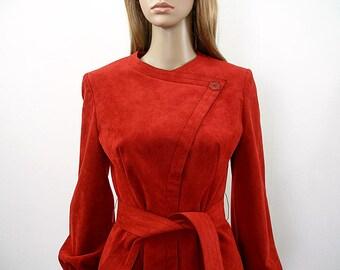 Vintage 1970s Mollis Parnis Dress Red Ultra Suede High Waist Dress / Medium