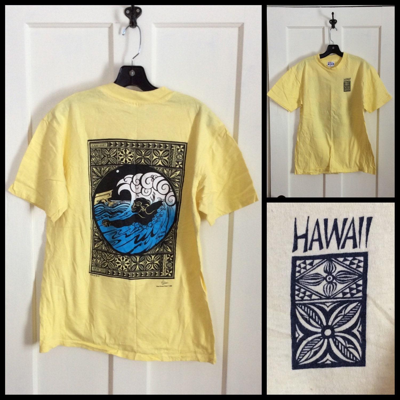 Vintage 1980 39 s hawaii tiki kauai maui souvenir surfer t for Hawaii souvenir t shirts