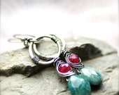 Rustic Chrysocolla and Ruby Moonstone Earrings