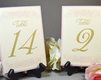 Wedding Table Numbers with Backing Cardstock - Wedding Reception Numbers - Seating Numbers - Display Numbers - Printable or Printed Numbers