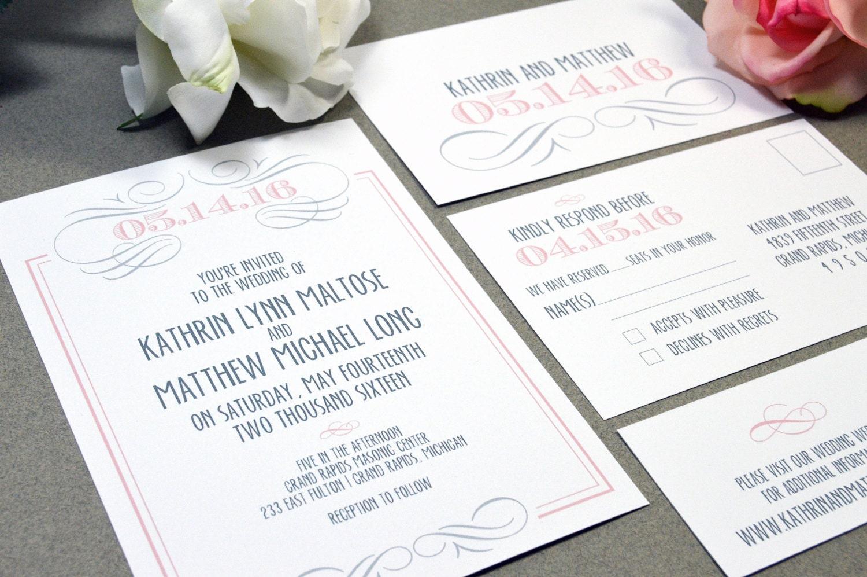 Romantic Wedding Invitation Wording: Romantic Wedding Invitations Swirl Invite Set Modern Pocket