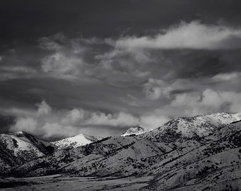 Black and White Landscape Photography, Winter Mountain Art