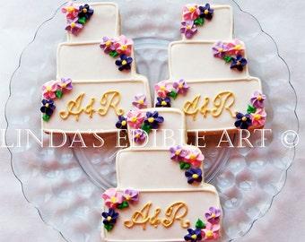 Multi Colored Floral Wedding Cake Cookie  1 Dozen (12)