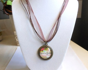 Ribbon and Glass Charm Necklace,Vintage Style Glass Charm Pendant
