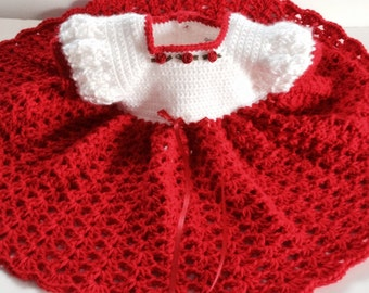Crochet Baby Dress, Infant Red and White 3-6 mo