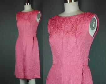 50s 60s Dress Vintage Pink Designer Cocktail Party Matelassé Jeunesse Plunging Back S