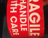 Fragile Stickers Red with White Lettering