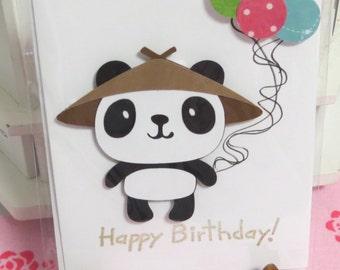 Panda birthday balloons greeting card