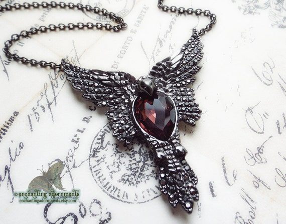 TRANSFORMATION ~ Ornate Phoenix  mythical fantasy necklace with hematite crystal stones, fuchsia glass