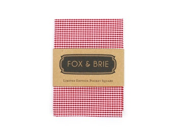 Cherry Gingham Pocket Square
