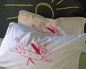 Screen Printed Pocket Knife Pillow Cases (set of 2 standard) - Eco Friendly - Cotton Pillowcase - Bedding - Swiss Army Knife - Camping