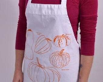 Screen Printed Apron - Natural Cotton Twill - Pumpkin - Winter Squash - Eco Friendly - Kitchen Apron - Gardening Apron - Cotton Full Apron