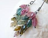 Watermelon Tourmaline silver earrings. October Birthstone earrings. Drop earrings. Gemstone cascade . Gift. Ready to ship. Mothers day