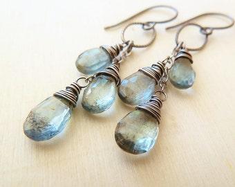 Moss Aquamarine silver earrings. Dangle earrings. March Birthstone. Wire wrapped. Drop earrings. Artisan silver earrings.