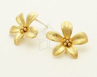 SI-605-MG / 2 Pcs - Cosmos Flower Earrings, Matte Gold Plated, with .925 Sterling Silver Post / 17mm x 15mm