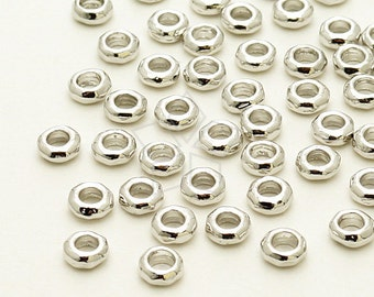ME-188-OR / 20 Pcs - Hammered Mini Ring Centrepiece, Silver Plated over Brass / 4.4mm