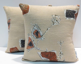 Space Age Mid Century Barkcloth Pillows Vintage 1950s Fabric Pair Home Decor Pillows