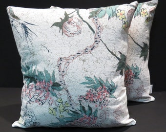 Oriental Floral Mid Century Barkcloth Pillows Vintage 1950s Fabric Pair Home Decor Pillows