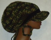 Made to Order Souljah Gal Camouflage Crochet Large Brimmed Cap Hat with Drawstring and Earrings by Razonda Lee Razondalee