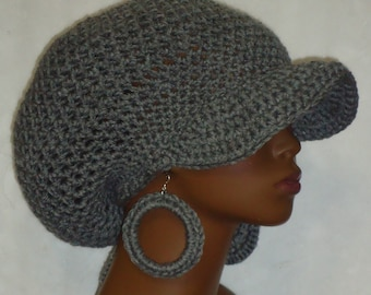 Gray Crochet Large Brimmed Cap Hat with Drawstring and Hoop Earrings by Razonda Lee Razonda Lee All Colors Made to Order