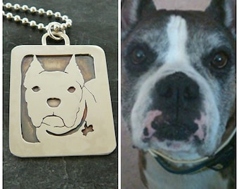 Sterling Dog Art Necklace, Your Pet as a Pendant .. Solid Back, Head Shot, Silver, Boxer