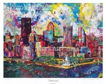 Pittsburgh Skyline art, Pittsburgh Artist, City Skyline, Three Rivers ,The Point,  by Johno Prascak