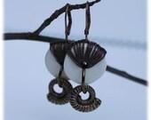 Ceramic Hoop Earrings with Brass Ammonite Charms