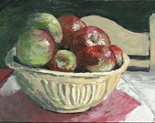 Apples in a Yellow Bowl ORIGINAL Painting - small framed acrylic painting by Patty Fleckenstein
