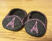 Eiffel Tower Black/Pink Doll Shoes