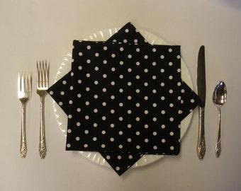 Black and White Polka Dot Napkins (Set of 4)