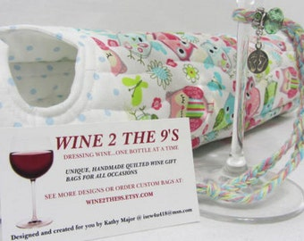 Baby Owl Wine Bag Gift Set Nursery New Mom Congratulations New Baby Quilted Fabric Wine Tote