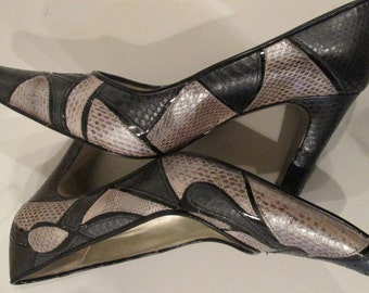 Vintage Patchwork Snakeskin Shoes / Snakeeskin Pumps / Heels
